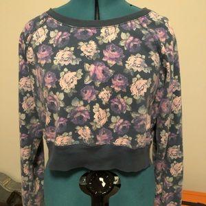 Rose Pattern Cropped Sweatshirt